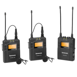 Saramonic UwMic9 2-Person Camera-Mount Wireless Omnidirectional Lavalier Microphone System For DSLR & Mirrorless Cameras (Updated Black Trim Around LED Displays, RX9+TX9+TX9, Black)_1