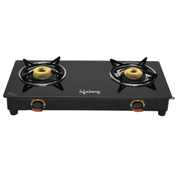 Lifelong 2 Burner Toughened Glass Gas Stove (Forged Burners, LLGS118, Black)_1