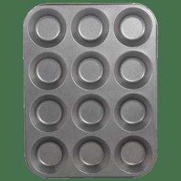 Sabichi 12 Cup Cake/Bun Muffin Tray for Ovens (106636, Black)_1