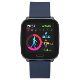 Timex iConnect Active Smartwatch (37mm) (Water Resistant, TW5M34300, Gunmetal/Blue, Soft Resin Band)_1