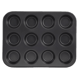 Sabichi 12 Cup Mould Muffin Tray for Ovens (106599, Black)_1