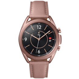 Samsung Galaxy Watch3 Smartwatch (GPS+Bluetooth, 41mm) (Blood Oxygen Monitoring, SM-R850NZDAEUB, Mystic Bronze, Leather Strap)_1