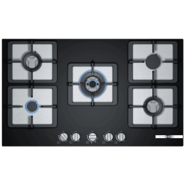 Bosch Serie 4 5 Burner Black Tempered Glass Built-in Gas Hob (PPQ9S6F20I, Black)_1