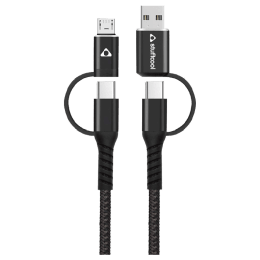 Stuffcool 100 cm 4 in 1 USB to Micro, USB to C, Type-C to C and C to Micro USB Cable (Quad, Black)_1