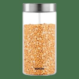 Borosil Endura 1.2 Litres Stainless Steel Lid Jar (BVVGJRSS1200, Transparent)_1