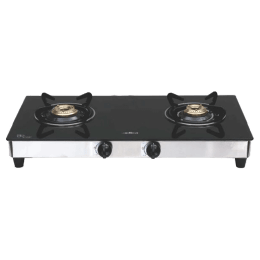 Elica 2 Burner Toughened Glass Gas Stove (Round Eurocoated Grids, 662 CT Vetro, Black)_1