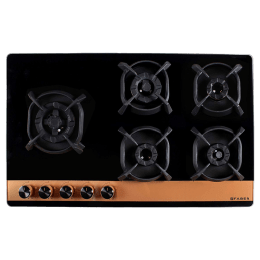 Faber 5 Burner Toughened Glass Built-in Gas Hob (Flame Failure Device, Utopia HT905 CRS BR CI AI, Black)_1