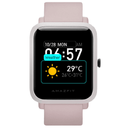 Amazfit Bip S Smartwatch (GPS+Gloanass, 32mm) (Feather-Light Body, Black/Warm Pink, Silicone And Skin Friendly TPU)_1