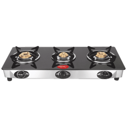 Pigeon Ayush 3 Burner Toughened Glass Gas Stove (Unique Pan Support, 14336, Black)_1
