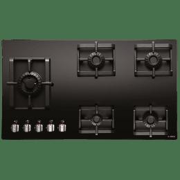 Elica Pro MFC 5B 91 Swirl 5 Burner Glass Built-in Gas Hob (Automatic Ignition, 2647, Black)_1