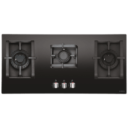Elica Pro MFC 3B 90 DX Swirl 3 Burner Glass Built-in Gas Hob (Automatic Ignition, 2654, Black)_1