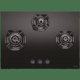 Elica CLASSIC FLEXI AB MFC 3B 70 MT 3 Burner Glass Built-in Gas Hob (Cast Iron Grids, 3084, Black)_1
