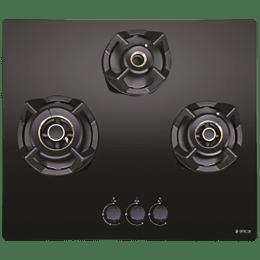 Elica CLASSIC FLEXI AB MFC 3B 60 MT 3 Burner Glass Built-in Gas Hob (Cast Iron Grids, 3082, Black)_1