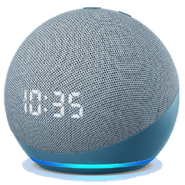 Amazon Echo Dot 4th Gen Alexa Built-In Smart Wi-Fi Speaker (LED Display with Clock, B085M5R82K, Blue)_1