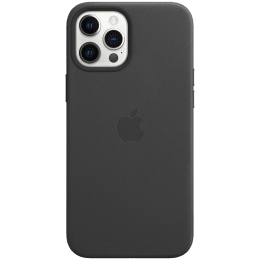 Apple Leather Back Case For iPhone 12 Pro Max (Magsafe Charging Accessibility, MHKM3ZM/A, Black)_1