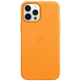 Apple Leather Back Case For iPhone 12 Pro Max (Magsafe Charging Accessibility, MHKH3ZM/A, California Poppy)_1