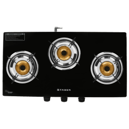 Faber Power 3BB 3 Burner Toughened Glass Gas Stove (Powder Coating Round Pan Support, 106.0629.732, Black)_1