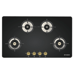 Faber Maxus 4 Burner Tempered Black Glass Built-in Gas Hob (HT904 CRS BR CI AI, Black)_1