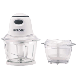 Borosil 400 Watts 0.9 Litres Glass Chopper (Suitable for Fruits + Vegetable, 2 Blades, Silent Performance, BCH40GPB11, White)_1