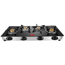 Pigeon Scarlet 4 Burner Toughened Glass Top Gas Stove (Spill-Proof Pan Support, 14329, Black)_1