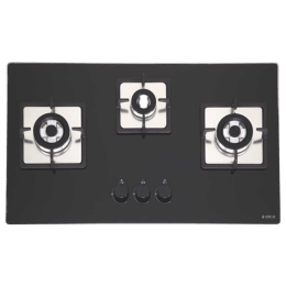 Elica 3 Burner Toughened Glass Built-in Gas Hob (Cat Iron Pan Support, Flexi Brass HCT 375 DX, Black)_1