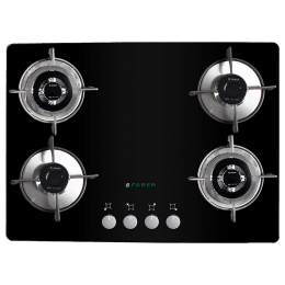 Faber 4 Burner Glass Built-in Gas Hob (Cast Iron Pan Support, GB 724 MT, Black)_1