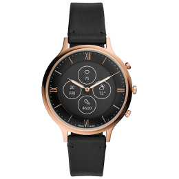 Fossil Hybrid HR Charter Smart Watch (42 mm) (Water Resistance, FTW7011, Black, Leather)_1