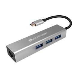UltraProlink 1 x Type-C Connector to 3 x USB 3.0 Ports / 1 x Ethernet Port Giga Hub Adapter for Macbook and all Type-C Laptops (Super Transfer Speed, UM0095, Grey)_1