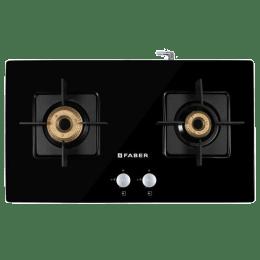 Faber Elite 2BB BK CI 2 Burner Tempered Glass Gas Stove (Black Enameled Tray, 106.0595.412, Black)_1