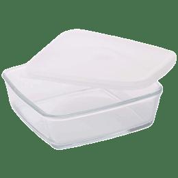 Borosil Square Dish with Lid for Microwave, Fridge, Dishwasher (Borosilicate Glass, IH22DH18216, Transparent)_1