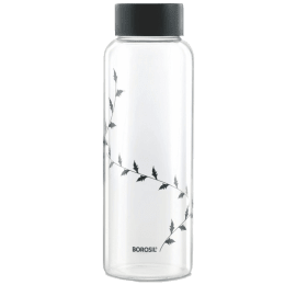 Borosil Crysto D'Sign Bottle for Microwave, Refrigerator, Dishwasher (Borosilicate Glass, GBTPURBK01L, Black)_1