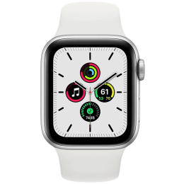Apple Watch SE Smartwatch (GPS, 44mm) (Heart Rate Monitoring, MYDQ2HN/A, Silver/White, Sport Band)_1