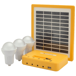 Agni Solar Home Lighting Kit 3 4 Watts Solar LED Bulb (Poly Crystalline Solar Panel, AG-301, Yellow)_1