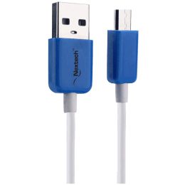 Nextech PVC 1 Meter Micro USB 2.0 (Type-B) to Micro USB 2.0 (Type-B) Power/Charging USB Cable (Tangle Free Cable, NC61, White)_1