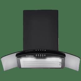 Eurodomo Onyx 1095 m³/hr 60cm Wall Mount Chimney (Baffle Filter, PB BK 60, Black)_1