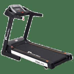 PowerMax MaxTrek Foldable Motorized Treadmill (Anti-Bacterial Powder Coat Finish, TDA-111, Black/White)_1