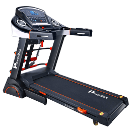 PowerMax MaxTrek 3 HP Foldable Motorized Treadmill (Anti-Bacterial Powder Coat Finish, TDA-230M, Black/Orange)_1