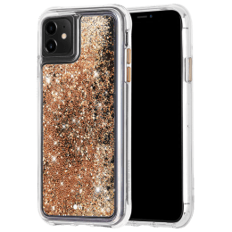 Case-Mate Waterfall Glitter Polycarbonate Back Case Cover for Apple iPhone 11 (CM039360, Gold)_1
