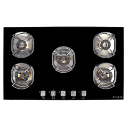 Faber 5 Burner Tufted Glass Built-in Gas Hob (Auto Ignition, Nexus HT905 CRS BR CI, Black)_1