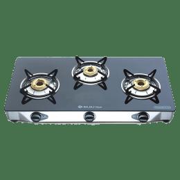 Bajaj 3 Burner Glass Gas Stove (Thermal Efficient Brass Burner, Majesty CGX3 Eco, Black)_1