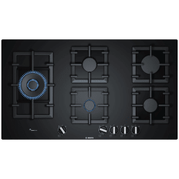 Bosch Serie | 6 5 Burner Stainless Steel Built-in Gas Hob (Flame Failure Safety Device, PPS9A6B90I, Black)_1