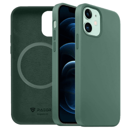 Raegr MagFix Silicone Back Case For iPhone 12 / iPhone 12 Pro (Supports MagSafe Wireless Charging, RG10169, Midnight Green)_1