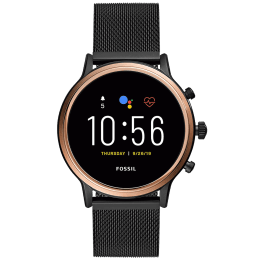 Fossil Gen 5 Julianna HR Smart Watch (GPS, 44 mm) (Water Resistance, FTW6036, Black/Smoke, Stainless Steel)_1