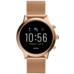 Fossil Gen 5 Julianna HR Smart Watch (GPS, 44 mm) (Water Resistance, FTW6062, Black/Rose Gold, Stainless Steel)_1