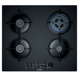 Bosch Serie 4 4 Burner Tempered Glass Built-in Gas Hob (Flame Failure Safety Device, PNH6B6B10I, Black)_1