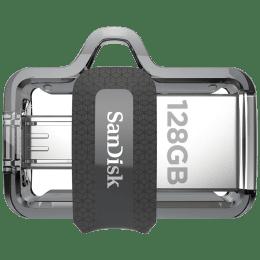 SanDisk Ultra Dual Drive m3.0 128GB USB 3.0 (Type-A), Micro USB (Type-B) Flash Drive (Retractable Design, SDDD3-128G-I35, Silver)_1