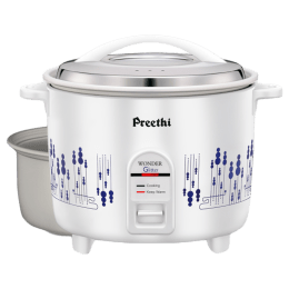 Preethi Glitter 2.2 Litres Electric Rice Cooker (Anodized Aluminium Pan, RC326 DP, White)_1