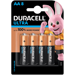 Duracell Ultra Alkaline Non Rechargeable Batteries for HP Toys, Flashlights (Operates Over Wider Range of Temperature, DU CB AL AA 8, Copper Black)_1