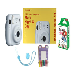 Fujifilm Instax Mini 11 Instant Camera Starter Kit (Real Image View Finder, IC0125, Ice White)_1
