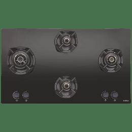 Elica Classic Flexi AB MFC 4B 70 MT 4 Burner Glass Built-in Gas Hob (Cast Iron Grids, 3085, Black)_1
